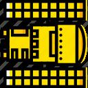 hubble, space, telescope, universe, yellow icon