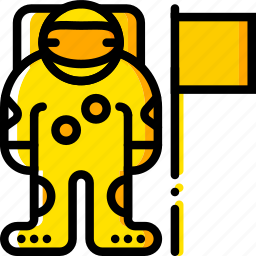 armstrong, neil, space, universe, yellow icon