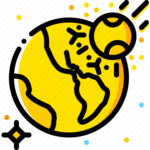 asteroid, impact, space, universe, yellow icon