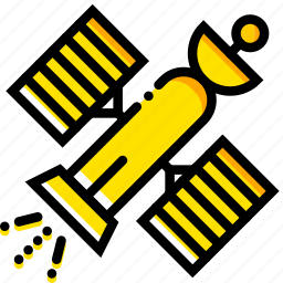 commercial, satellite, space, universe, yellow icon