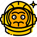 astronaut, monkey, space, universe, yellow icon