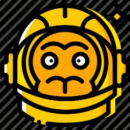 astronaut, monkey, space, universe, yellow icon