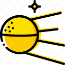 space, sputnik, universe, yellow icon