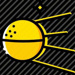 space, sputnik, universe, yellow icon