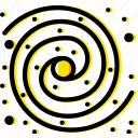 milky, space, the, universe, way, yellow icon