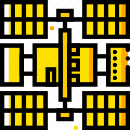 space, station, universe, yellow icon