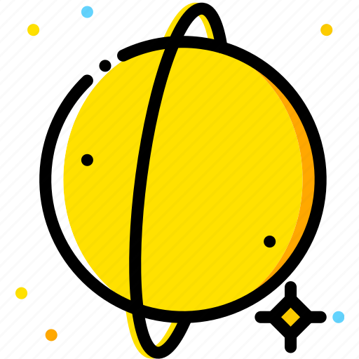 space, universe, uranus, yellow icon
