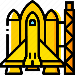 launch, pad, space, spaceship, universe, yellow icon