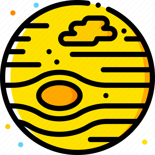 jupiter, space, universe, yellow icon