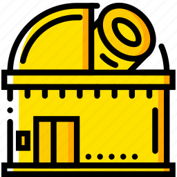 observatory, space, universe, yellow icon