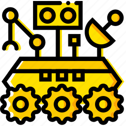 curiosity, rover, space, universe, yellow icon