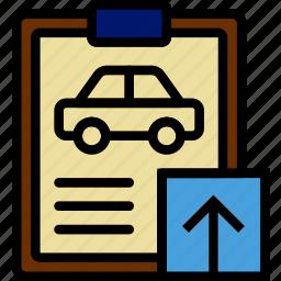 car, details, transport, upload, vehicle icon