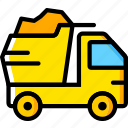 dump, transport, truck, vehicle icon