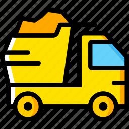 dump, transport, truck, vehicle icon