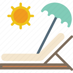 holiday, seaside, sunbed, vacation icon