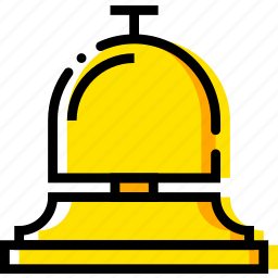 bell, hotel, journey, travel, voyage, yellow icon