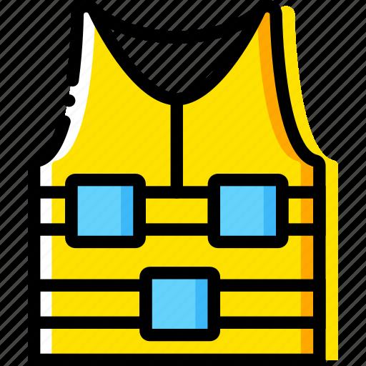 jacket, journey, life, travel, voyage, yellow icon