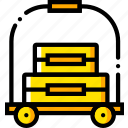 bellhop, journey, travel, voyage, yellow icon