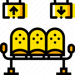 airport, area, journey, travel, voyage, waiting, yellow icon