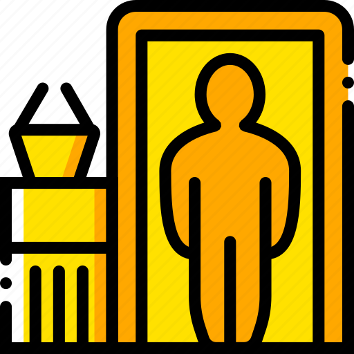 airport, check, in, journey, travel, voyage, yellow icon