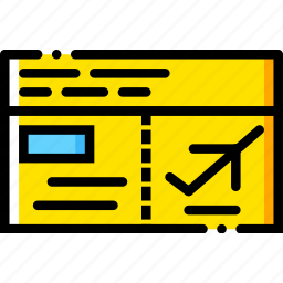 journey, plane, tickets, travel, voyage, yellow icon