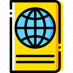 journey, passport, travel, voyage, yellow icon