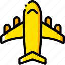 journey, plane, travel, voyage, yellow icon