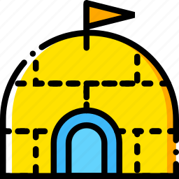 igloo, journey, travel, voyage, yellow icon