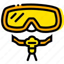 journey, mask, scuba, travel, voyage, yellow icon