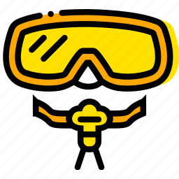 journey, mask, scuba, travel, voyage, yellow icon