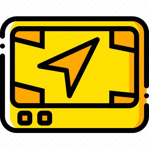 gps, journey, street, travel, view, voyage, yellow icon