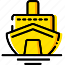 cruise, journey, travel, voyage, yellow icon