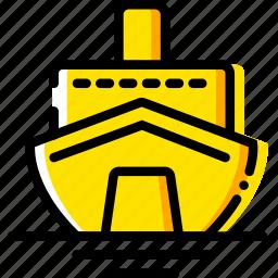 cruise, journey, travel, voyage, yellow icon