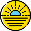 journey, sea, sunset, travel, voyage, yellow icon