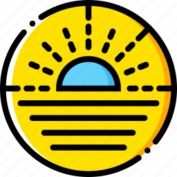 journey, sea, sunset, travel, voyage, yellow icon