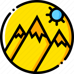 journey, mountainside, travel, voyage, yellow icon