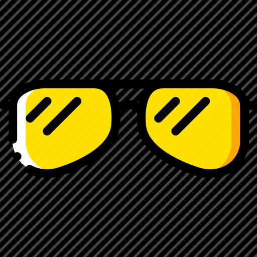 journey, sunglasses, travel, voyage, yellow icon