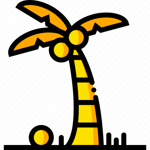 journey, palm, travel, voyage, yellow icon