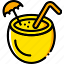 cocktail, journey, travel, voyage, yellow icon