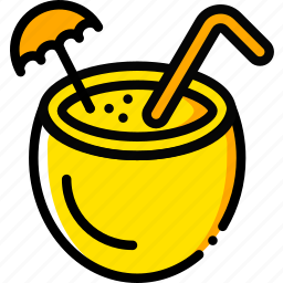 cocktail, journey, travel, voyage, yellow icon