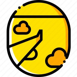 airplane, journey, travel, view, voyage, yellow icon