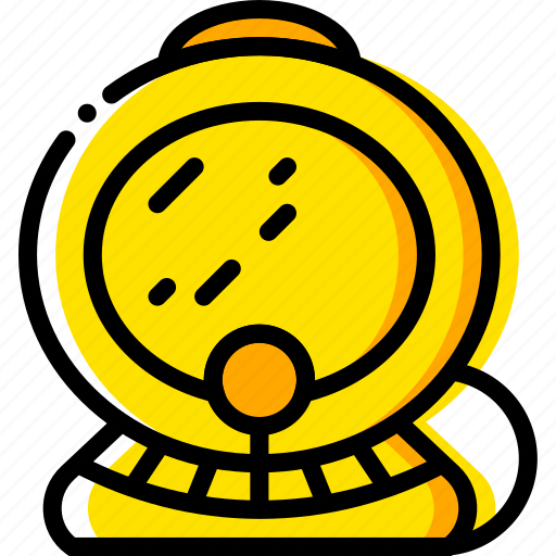 diving, gear, journey, scuba, travel, voyage, yellow icon