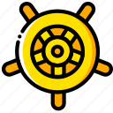 journey, navigator, travel, voyage, wheel, yellow icon
