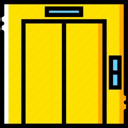 elevator, journey, travel, voyage, yellow icon