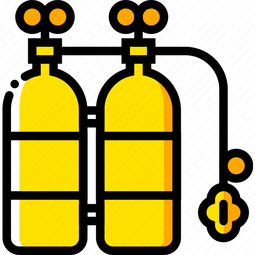 journey, oxygen, tanks, travel, voyage, yellow icon