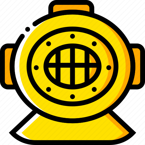 deep, diving, gear, journey, travel, voyage, yellow icon