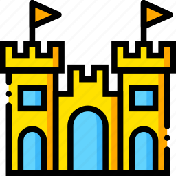 castle, journey, sand, travel, voyage, yellow icon