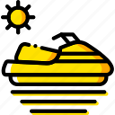 journey, skijet, travel, voyage, yellow icon
