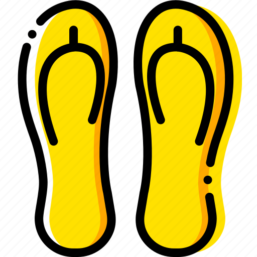 flip, flops, journey, travel, voyage, yellow icon