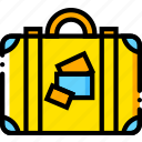 journey, luggage, travel, voyage, yellow icon